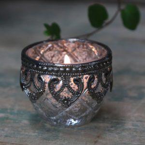 Chic Antique fyrfadsstage m. sølv dekor