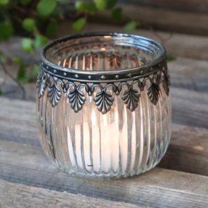 Chic Antique fyrfadsstage m. sølv dekor glas