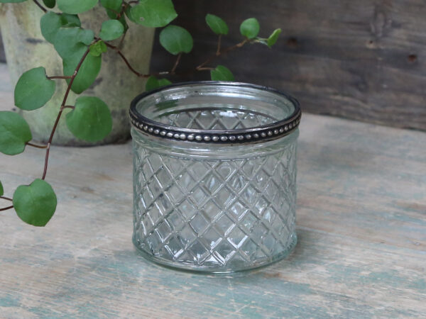 Chic Antique glasskjuler m. perlekant