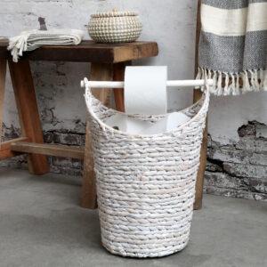Chic Antique kurv m. toiletpapirsholder hvid